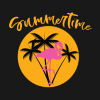 Summertime Flamingo with Palms and Sunset T Shirt