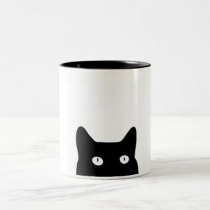 Black Cat Two-Tone Ceramic Mug, Funny Coffee Cup, Quote Mug, Funny Mug