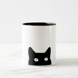 Black Cat Two-Tone Ceramic Mug, Funny Coffee Cup, Quote Mug, Funny Mug