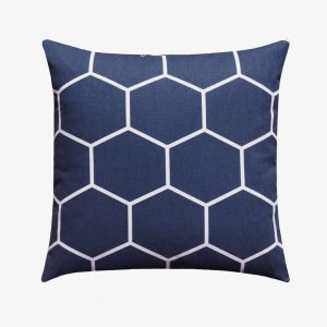 Blue White Modern Hexagon Pillow Case