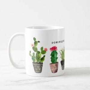Boho Watercolor Succulents Pattern Personalized Ceramic Mug