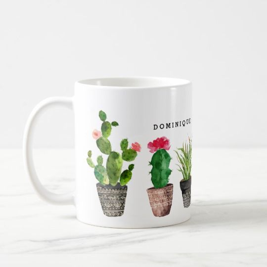 Boho Watercolor Succulents Pattern Personalized Ceramic Mug