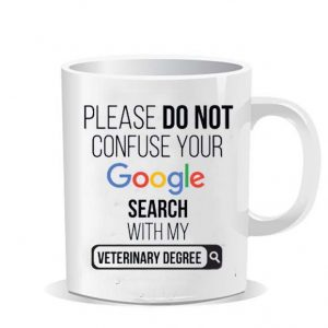 Please do not confuse your google search my veterinary degree Ceramic Mug